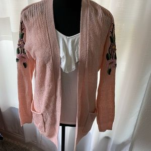 Mossimo pink FLORAL embroidered cardigan XS